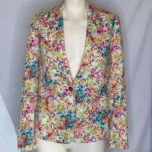 Zara colorful confetti one button blazer w/pockets